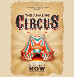 vintage old circus poster with red and blue big vector image