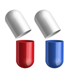 Blue and red pills vector image