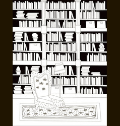 Cartoon flat interior library room coloring vector