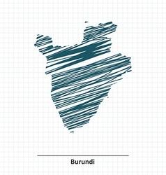 Doodle sketch of Burundi map vector image