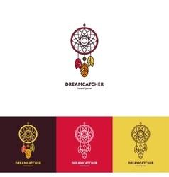 Dreamcatcher logo with feathers and beads vector image vector image