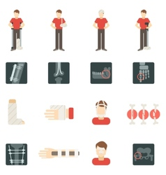 Fracture Bone Flat Icons Set vector image