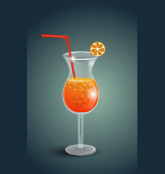 Fresh orange juice with plumeria flowers vector