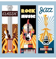 Music flat banners set vector image vector image