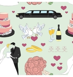 Wedding day pattern vector image