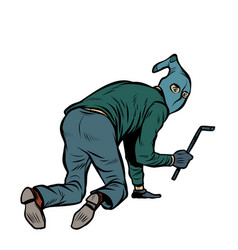 a thief with a crowbar vector image