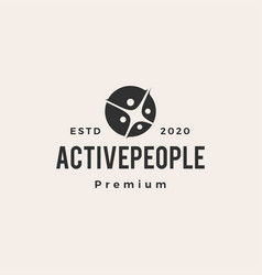 active people family hipster vintage logo icon vector image