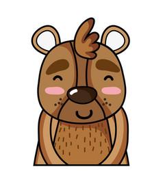 Adorable and happy bear wild animal vector