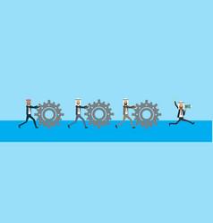 arabic businessman rolling cogwheels hard working vector image