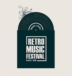 banner for retro music festival with vinyl record vector image