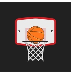 basketball hoop and orange ball on dark vector image