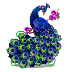 Beautiful bird peacock sitting on a perch vector