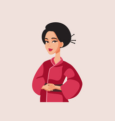 Beautiful japanese woman wearing traditional vector