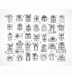 big set doodle christmas gift boxes on white vector image