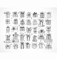 big set doodle christmas gift boxes on white vector image