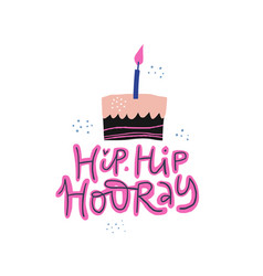 birthday cake with calligraphy vector image