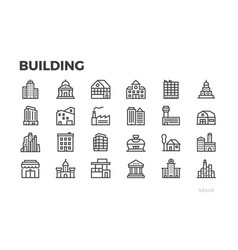 Building icons city house home architecture vector