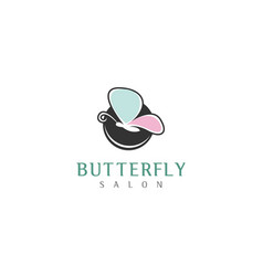 Butterfly logo beauty wellness simple minimalist vector