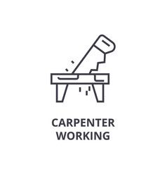 Carpetner working line icon sign vector