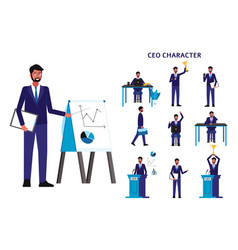 cartoon ceo businessman set - isolated man in vector image