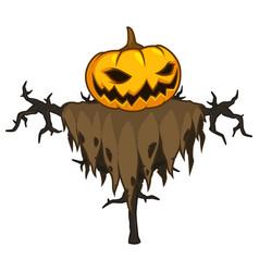 Cartoon pumpkin scarecrow in rags clothes vector