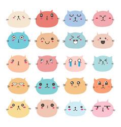 Cat face emoticons set vector