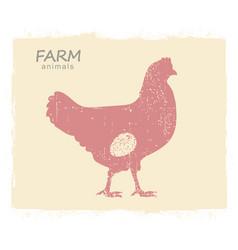 chicken hen silhouette vintage label chicken vector image