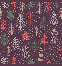 christmas tree seamless pattern repeat tile purple vector image