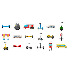 city transport icon set cartoon style vector image