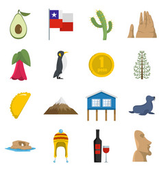 Cjile travel icons set flat vector