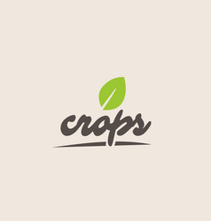 Crops word or text with green leaf handwritten vector