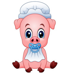 Cute baby pig cartoon vector