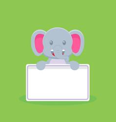 Cute elephant holding blank text board vector