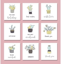 Cute hand drawn cactus cards set vector image
