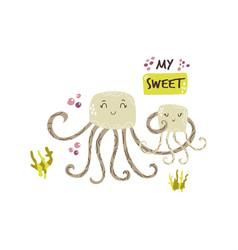 cute jellyfish family baby cartoon design vector image