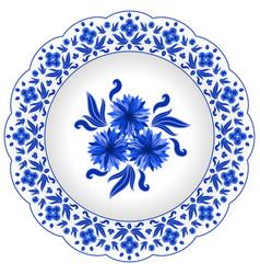 Decorative porcelain plate ornate vector