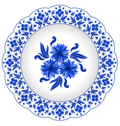 Decorative porcelain plate ornate with vector