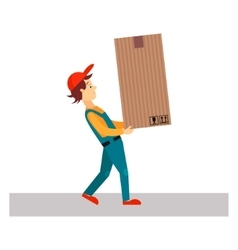 Delivery Man with Big Package vector
