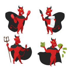 Demon or red skin devil in cloak with horns vector