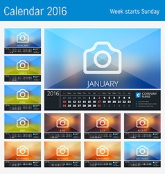 Desk Calendar for 2016 Year 12 Months Place for vector image