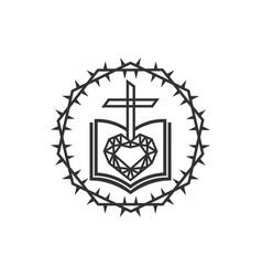 Diamond gods word love and cross vector