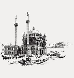 drawing sketch ortakoy mosque vector image