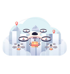 Drone delivery package on city background vector