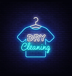 Dry cleaning neon sign dry cleaning design vector