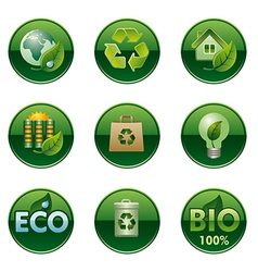 eco and bio round buttons set vector image