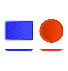 empty plastic food tray front and top view vector image
