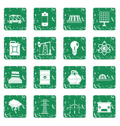 Energy sources items icons set grunge vector