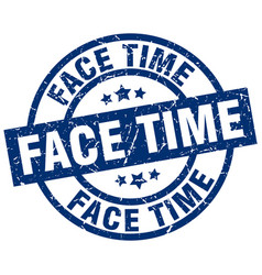 face time blue round grunge stamp vector image