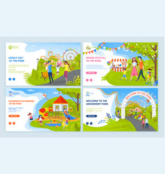 family leisure in park spring festival vector image