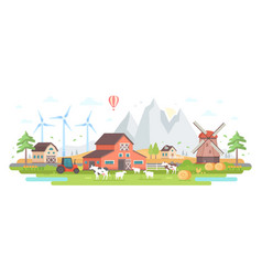Farm by the mountains - modern flat design style vector
